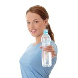Teen woman with water Royalty Free Stock Photo