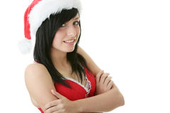 Teen woman wearing Santa hat Royalty Free Stock Image