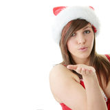 Teen woman wearing Santa hat Royalty Free Stock Photo