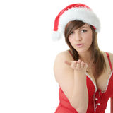 Teen woman wearing Santa hat Stock Photos
