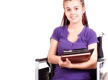 Teen woman on wheelchair. Teen student woman on wheelchair, white background Stock Photography
