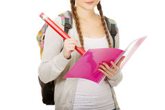 Teen woman writing with huge pencil. Royalty Free Stock Photo