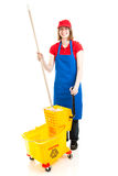 Teen Worker with Mop and Bucket Stock Image