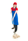 Teen Worker Mopping - Full Body. Happy smiling teenage worker, mopping the floor.  Isolated on white Stock Photography