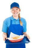 Teen Worker Serves Burger and Fries Stock Images