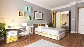 Teen young bedroom design idea royalty free illustration