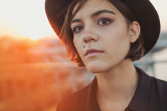 Teen young woman urban portrait. royalty free stock photography