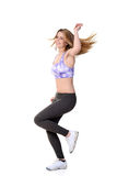 Teen zumba workout with motion blur. On white background Royalty Free Stock Photography