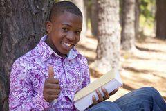 Teenage african boy. In nature Royalty Free Stock Image