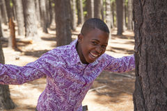 Teenage african boy. In nature Royalty Free Stock Photography