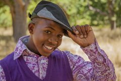Teenage african boy. In nature Royalty Free Stock Photo