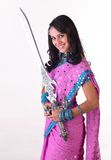 Teenage asian girl with the sword Royalty Free Stock Image