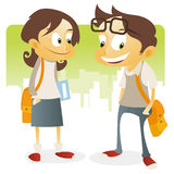 Teenage Back to school. Illustration of two cool kids in school uniform vector illustration