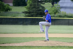 Teenage baseball pitcher Stock Images