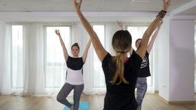 Teenage beautiful girls learning yoga with teacher. Teenage girls learning yoga with teacher stock video