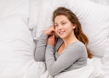 Teenage in bed Stock Photos