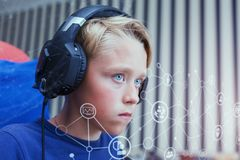 Teenage boy playing computer games on PC Royalty Free Stock Photo