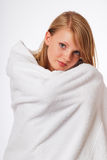 Teenage blonde girl in a bath towel Royalty Free Stock Photography