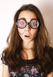 Teenage bookworm concept, cute young woman in glasses, lifestyle people Royalty Free Stock Photo