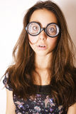 Teenage bookworm concept, cute young woman in glasses, lifestyle Royalty Free Stock Images