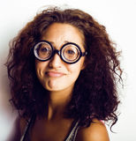 Teenage bookworm concept, cute young woman in glasses, lifestyle people concept Stock Photo