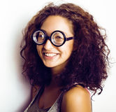 Teenage bookworm concept, cute young woman in glasses, lifestyle people concept Stock Photography