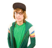 Teenage Boy. In jacket and ball cap on white background royalty free stock images