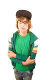 Teenage Boy. In jacket and ball cap on white background stock image