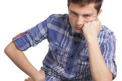 Teenage boy with acne problem Stock Images