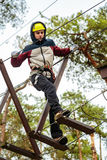 Teenage boy in an adventure park Royalty Free Stock Images