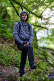 Teenager hiker on a trail Royalty Free Stock Photography