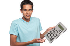 Teenage Boy with Big Calculator Stock Photos