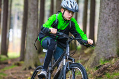 Teenage boy biking on forest trails Royalty Free Stock Image