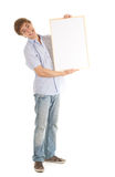Teenage boy with blank sign Stock Photos