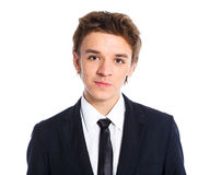 Teenage boy in a business suit Stock Image