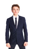 Teenage boy in a business suit Royalty Free Stock Photos