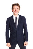 Teenage boy in a business suit Stock Photos