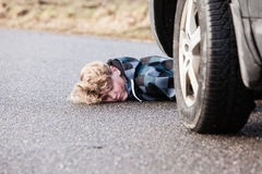 Teenage Boy Car Accident Fatality on Wet Pavement Stock Images