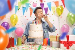 Teenage boy celebrating his birthday Royalty Free Stock Photography