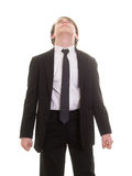 Teen boy in suit and tie looking up a the sky Stock Photos