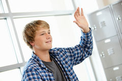 Teenage boy in class Royalty Free Stock Photos