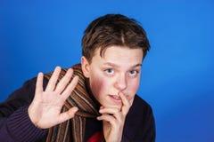 Teenage boy close-up portrait in studio Stock Images