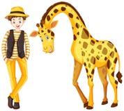 Teenage boy and cute giraffe. Illustration Stock Images