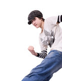 Teenage boy dancing Locking or Hip-hop. Dance over isolated background Stock Photography