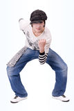 Teenage boy dancing Locking or Hip-hop dance. Over isolated background Stock Images
