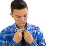 Teenage boy dressing Royalty Free Stock Images