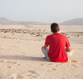Teenage boy in dunes Royalty Free Stock Photos