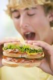 Teenage Boy Eating Sandwich Stock Images