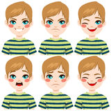 Teenage Boy Face Expressions Stock Image