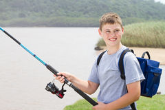 Teenage boy fishing Royalty Free Stock Images